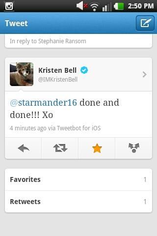 Kristen Bell Tweet